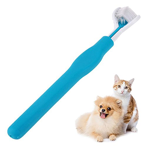 Triple Head Toothbrush For Pet Clean Oral Cavity All Around And Protecting Teeth-Ergonomic Handle Design for Easy Oral Care Grooming (Great for medium, large size dog) .