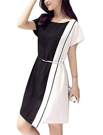 baf2f14110 Vestidos Elegantes del Color Blanco y Negro de Las Mujeres Elegantes ...