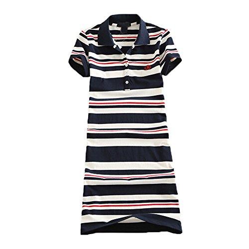 Teeuiear Women Embroidery Polo Striped Print Summer T Shirt Dress Slim Casual Mini Sport Dresses (L, Q2029 (Mini Striped Polo Shirt)