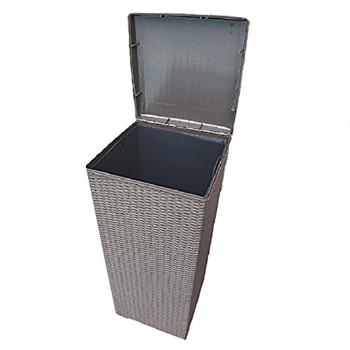 30 Gallon Trash Can Lid Resin Wicker Outdoor Laundry Hamper Large Tall Bin Liner Patio & eBook