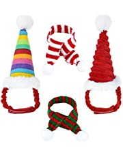 Jmkcoz 4 Pack Christmas Guinea Pig Costume Pet Santa Claus Cap Hat Scarf Red Colorful Stripe Pompom Scarf Hat for Guinea Pig Rabbit Hamster Chinchilla Hedgehog Kitten Ferrets Squirrel Small Animals