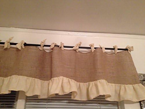 KM Curtains Handmade Burlap Valance 72 x 18