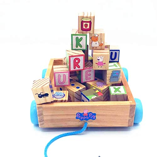 BJLWTQ Children Classic ABC Wooden Building Block Cart Kids Puzzle Educational Toy with 30 Solid Wood Blocks by BJLWTQ Toddlers kids toys (Image #4)