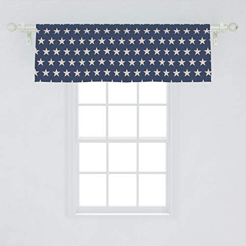 Ambesonne Star Window Valance, Patriotic Star of The American Flag Independence Themeds of Freedom, Curtain Valance for Kitchen Bedroom Decor with Rod Pocket, 54 X 18 , Night Blue