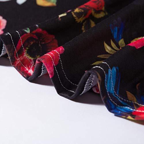 la Rodilla de Longitud Cuello de de la Vestido Manga Negro Ocasional Profundo ABsolute Vestido Manga en Impresa Flojo Fiesta 4 Mujer del 3 V ZH7POxOwvq