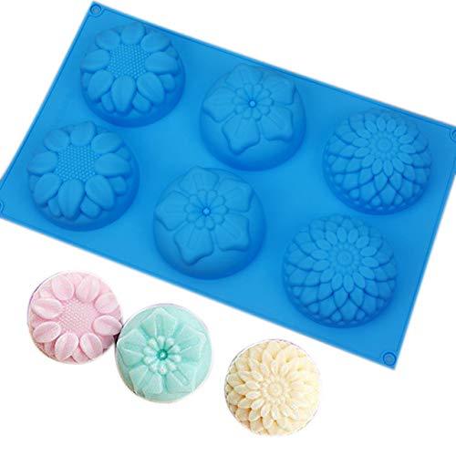 PlenTree 6 Cavity Flower Shaped DIY Handmade Soap Mold Sugar Chocolate Bakeware Baking Tool E2S: