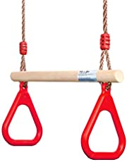 PELLOR Playground Children's Wooden Trapeze Swing Bar with Plastic Gym Rings Swing Set for Indoor & Outdoor Fun