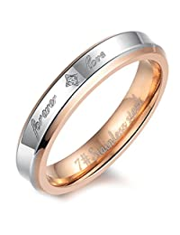 "Flongo Men's Womens""Forever Love"" Stainless Steel Ring Couples Valentine Wedding Engagement Promise Band"