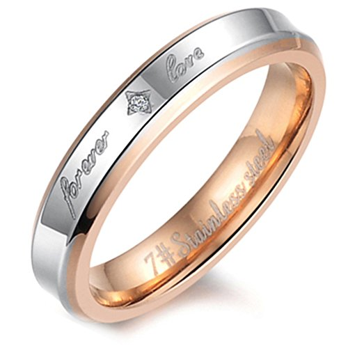 Flongo Womens Forever Love Stainless Steel Ring Couples Valentine Wedding Engagement Promise Band, Size 8