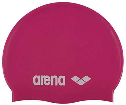 (Arena Classic Silicone JR Youth Swim Cap, Fuchsia/White)