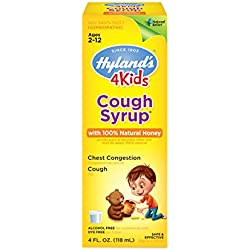 Hyland's 4 Kids Cough Syrup w/100% Natural Honey, Natural Relief of Cough and Chest Congestion, 4 Ounces
