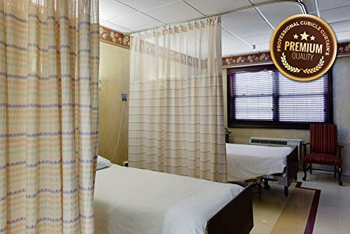 Custom Room Dividers - Hospital Curtain Cubicle Medical Curtains Hospital Bed, Room Divider Privacy Curtain - Machine Washable, Anti-Bacterial, Inherently Flame Retardant with Mash top and Grommets,(15' Wide x 7' Long)