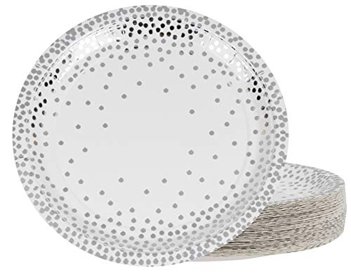 Silver Disposable Plates - 48-Pack Metallic Silver Foil Polka Dot Paper Party Plates, 9-Inch Round Lunch Plates, Dessert, Appetizer, For Wedding, Bridal Shower, Birthday Party Supplies]()