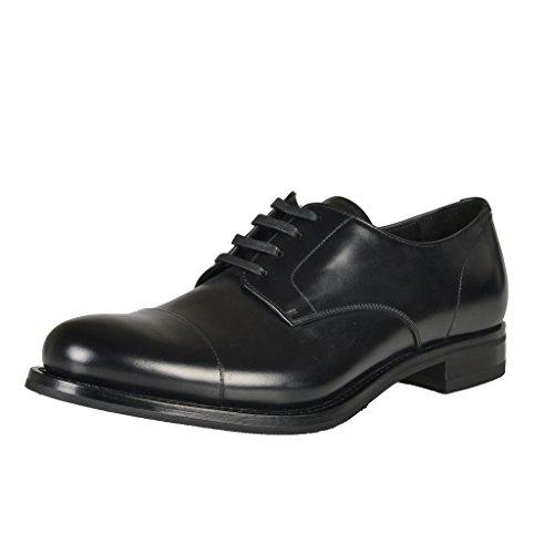 Prada Heren Zwart Lederen Veterschoenen Oxfords Zwart
