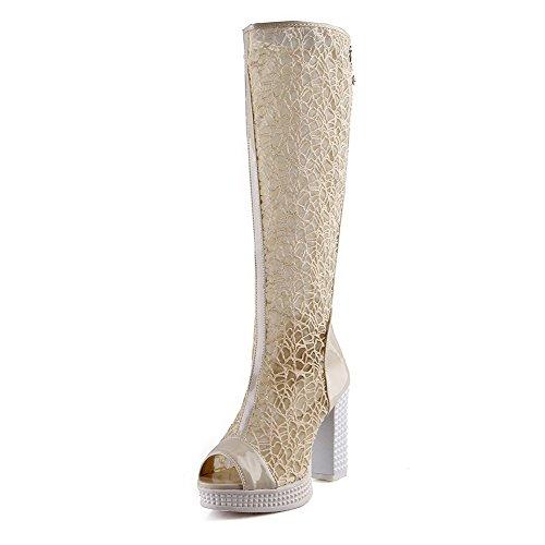 Amoonyfashion Kvinna Mjukt Material Dragkedja Peep-toe Kick-häl Fasta Sandaler Beige
