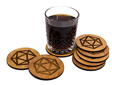 Stained D20 Coaster Set - Dice Barware - 4 3.5
