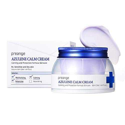 PREANGE Azulene Calm Cream 50ml (1.69 fl.oz.) - Guaiazulene Contained Dermatologist Tested Moisturizing Cream for Dry & Sensitive Skin, Containing Angelica Complex Powerful Soothing