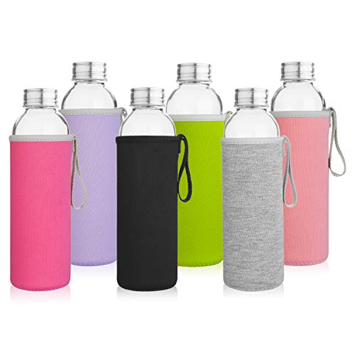 (Glass Water Bottles 6 Pack Deluxe Set 18oz - Includes 6 Sleeves. Stainless Steel Lids - Kombucha, Juice,)