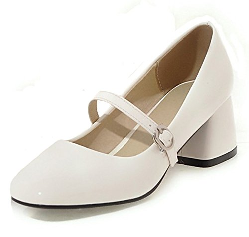 Mofri Women's Chic Square Toe Buckle Strap OL Work Shoes Medium Block Heels Mary Jane Pumps Shoes (White, 4 B(M) US) ()