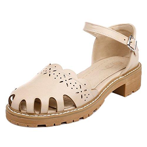 Women Heel Beige Pumps Shoes CarziCuzin Strap Chunky 6aqHawO