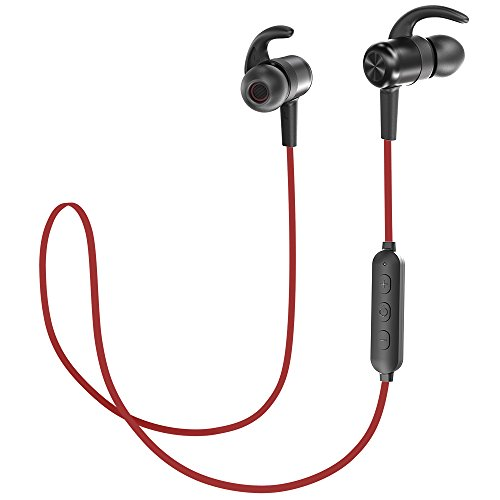 TaoTronics Bluetooth Headphones V4.2 Sport Earphones with 9 Hours Playtime CVC 6.0 Noise Cancelling Mic (Red)
