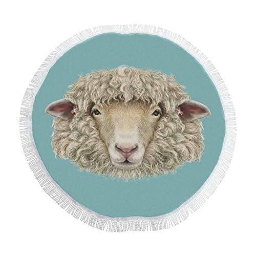 InterestPrint Ram Sheep Head Retro Animal Round Tapestry Cotton Tablecloth Beach Towel