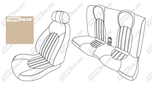 2001 thru 2006 Jaguar XK8 & XKR Coupe Model, Replacement Original Jaguar Leather Seat Covers, Full Set (Front & Rear)--Plain Vertical Inserts (Cashmere) by TopsOnline