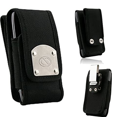 Gladiator Black Canvas Super Strong Rugged Duty Belt Case with Metal Clips for LG Optimus F3. (Lg Optimus F3 Metal Case)