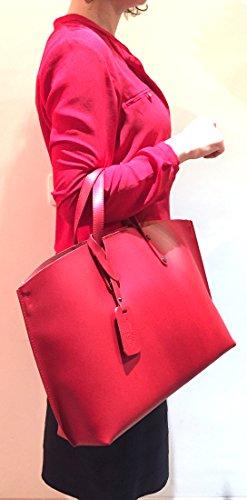 SUPERFLYBAGS Lisse à Sac Fabriqué cuir en en Italie véritable Model Rouge XL main Consuelo r6rwq0