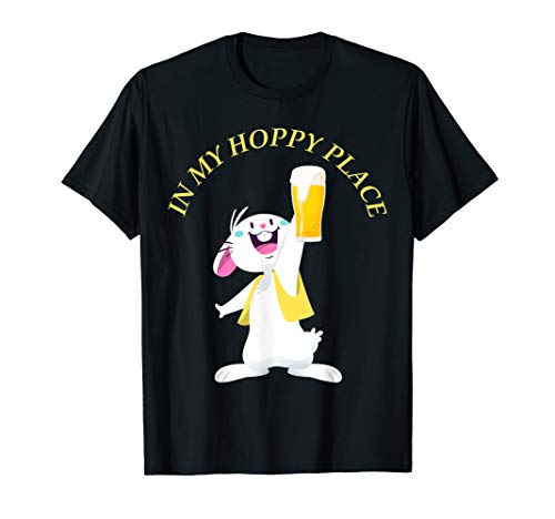 In My Hoppy Place bunny Drinking Beer Funny Easter T-Shirt