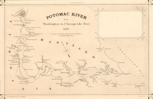 1887 Map Potomac River from Washington to Chesapeake Bay - Size: 16x24 - Ready to Frame - District o