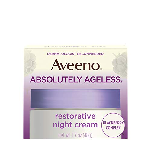 Aveeno Absolutely Ageless Restorative Night Cream Facial Moisturizer with Antioxidant-Rich Blackberry Complex, Vitamin C & E, Hypoallergenic, Non-Greasy & Non-Comedogenic, 1.7 fl. oz (Best Cheap Night Cream)