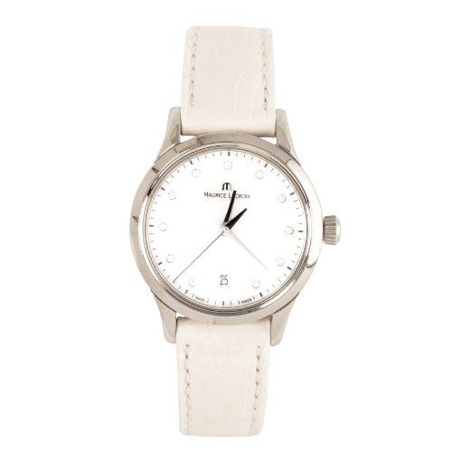 Maurice Lacroix Les Classiques Date Mother Of Pearl Dial White Leather Strap Ladies Quartz Watch - Maurice Lacroix Ladies