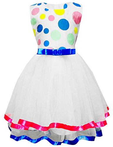 Little Girl Tutu Dress Blue Bowknot Polka Dots Girls Summer Sundress Tulle Party Wedding Dress 7 8 T - Dot Tulle Dress