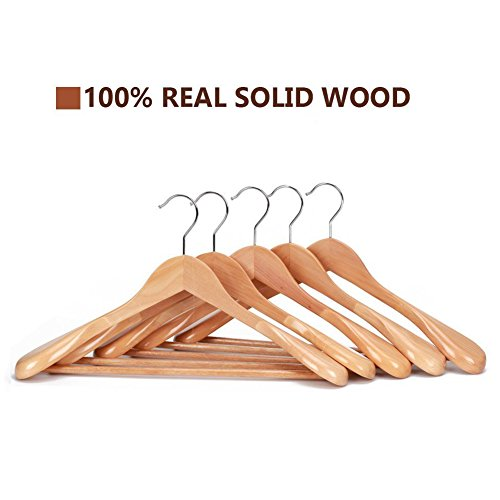 J.S. Hanger Gugertree Wooden Extra-Wide Shoulder Suit Hangers, Wood Coat Hangers Pant Hangers, Natural Finish, 5-Pack