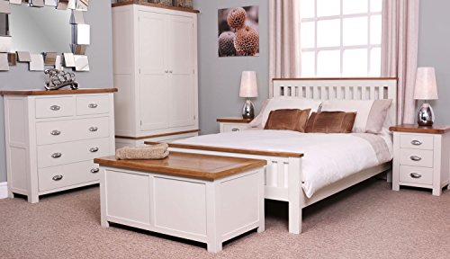 Ascot Oak 5ft King Sized Bed Frame And Stone White Painted Finish Wooden Bedroom Furniture Co Uk Kitchen Home