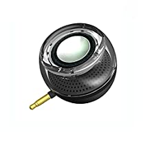 Portable Speaker, Leadsound Crystal 3W 27mm 8Ω Mini Wireless Speaker with 3.5mm Aux Audio Jack Plug in Clear Bass Micro USB Port Audio Dock for Smart Phone, for iPad, computer (Black)
