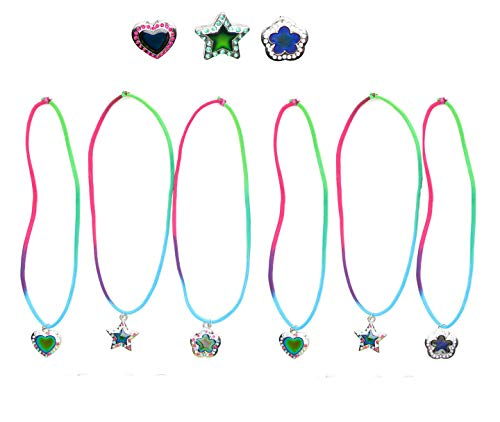 Frogsac 12 Pieces Color Changing Mood Rhinestone Multi Stretch Cord Necklaces - Assorted Star,Heart,Daisy,Butterfly