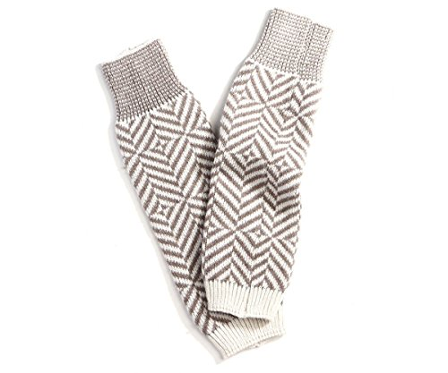 Amtal Women Zig Zag Chevron Patterned Wool Blend Knit Long Leg Warmer Socks