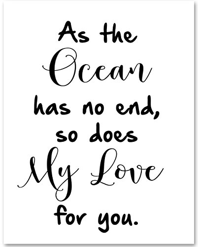 As The Ocean Has No End, So Does My Love For You - 11x14 Unframed Typography Art Print - Great Nursery or Child's Room Decor from Personalized Signs by Lone Star Art