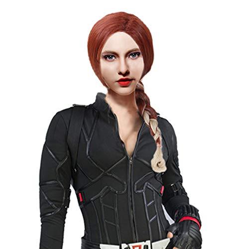 Black Widow Wig Avengers Cosplay Endgame Costume Accessories Wine Red Blonde Gradient Braids Hair ()