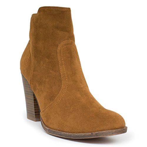 Breckelles Damen HEATHER-34 Faux Wildleder Chunky Heel Ankle Booties Tan Ts