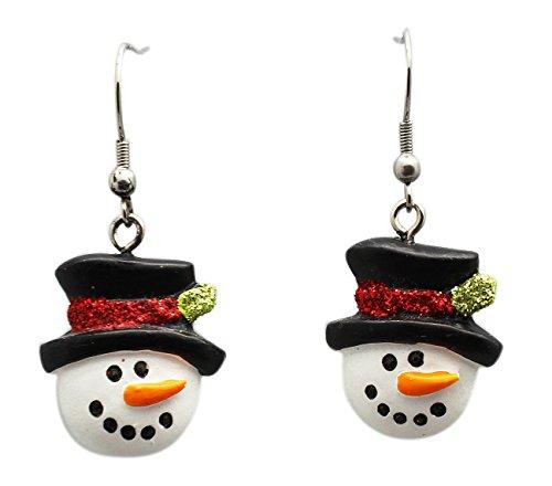 Top Hat Snowman Dangle  Earrings Inside - By Ganz