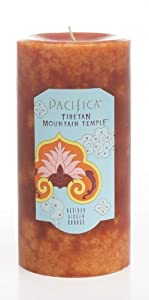 Tibetan Mountain Temple Pillar Candle from Pacifica