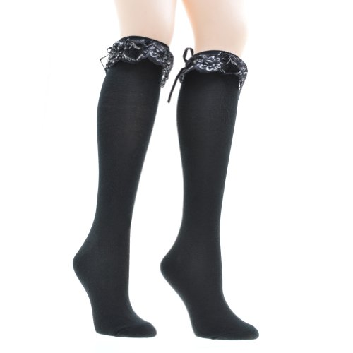 (Angelina Leg Warmer Knee High Socks with Ruffle Top #8323_Silver)