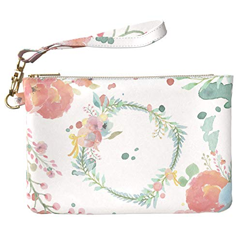 Lex Altern Makeup Bag 9.5 x 6 inch Cute Pattern Floral Leaves Easter Abstract Watercolor Purse Pouch Cosmetic Travel PU Leather Case Toiletry Women Zipper Bathroom Storage Wristband Girly Accessories