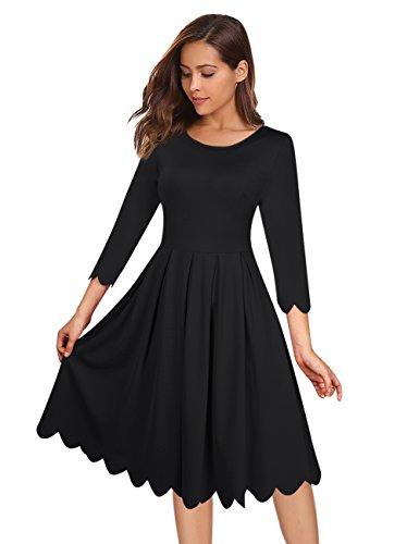 3/4 sleeve black dress knee length - 4