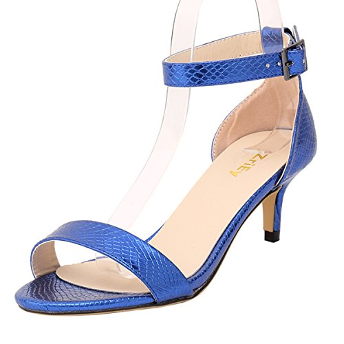 - ZriEy Women Sexy Open Toe Ankle Straps Low Heel Sandals Crocodile Grain Blue Size 8.5/39 M EU