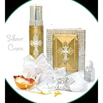 ... Gold Cross Silver Set For Girl, Boy, or Unisex : Candle, Bible, Dry Cloth, Sea Shell, Rosary and Holy Water Bottle –Bautizo Religious Gift (Silver)