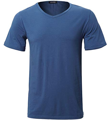 Men's Classic Basic Short Sleeve T-Shirts V- Neck Tee Shirts Summer Tops Royal Blue Size XL